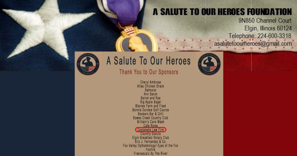 Castaneda Law Office Sponsorship of A Salute to Our Heroes Foundation Golf Outing