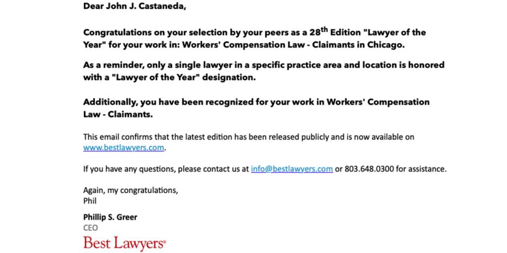 John J Castaneda Best Lawyer 2021